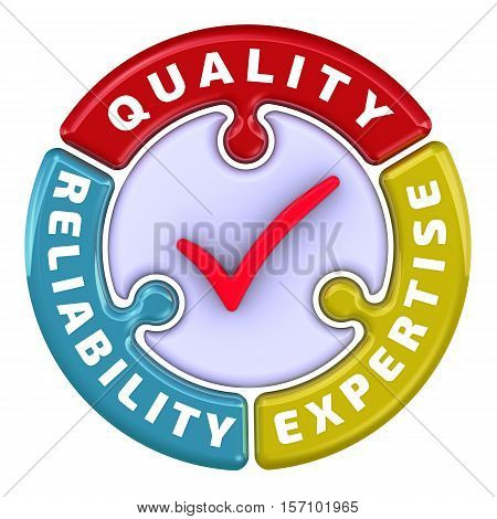 Reliability, quality, expertise. The check mark in the form of a puzzle. The inscription