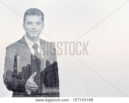 Businessman and New York water view. Front view. Double exposure. Concept of career.