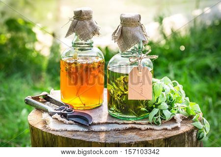Homemade Tincture With Alcohol And Herbs On Old Wooden Table