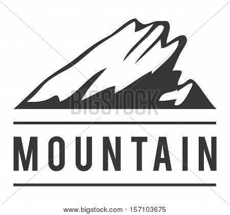 Mountain vector icon badge. Mountain silhouette elements. Outdoor icon snow ice mountain tops, decorative symbols isolated. Camping mountain logo, travel label, climbing or hiking badge