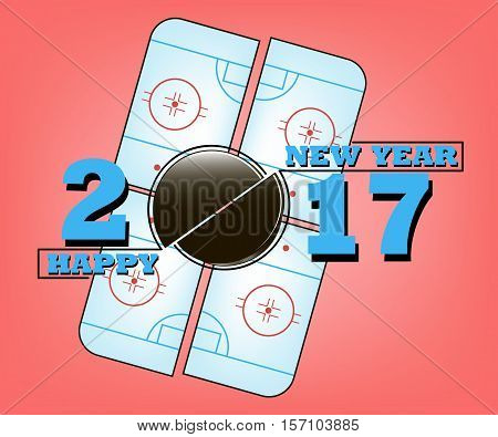 Happy new year 2017 and  hockey puck against the background of a  hockey field. Vector illustration