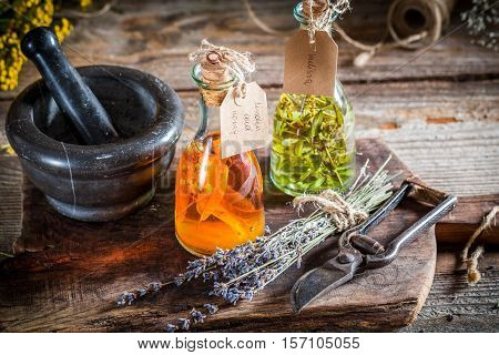 Homemade Tincture In Bottles With Alcohol And Herbs