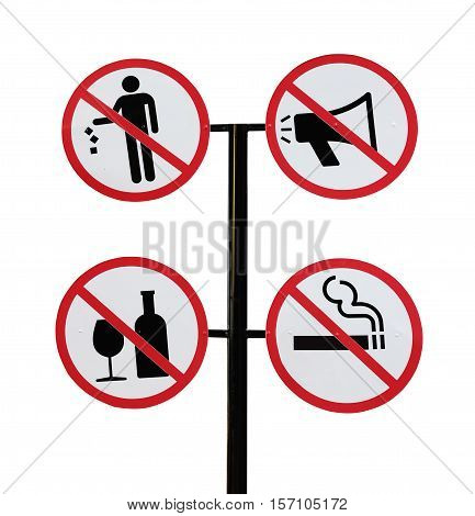 Set of sign with prohibiting different designations