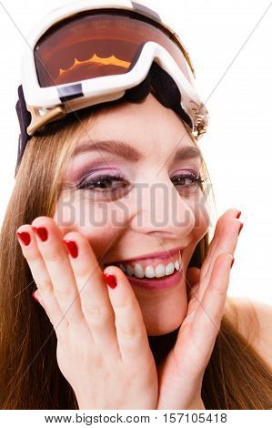 Crazy Close Up Of Woman Face With Ski Goggles
