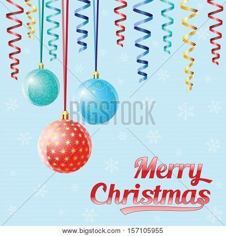 Decorative Christmas Balls, Vector Christmas Card