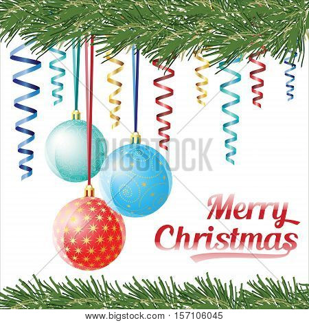 Decorative Christmas Balls On White Background, Vector Christmas Card