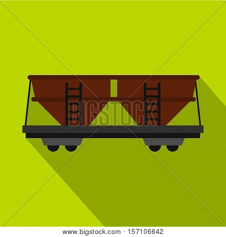 Freight railroad car icon. Flat illustration of freight railroad car vector icon for web design