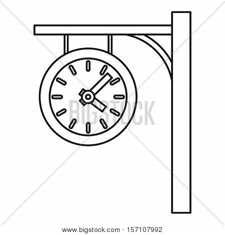 Station clock icon. Outline illustration of station clock vector icon for web design