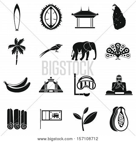 Sri Lanka travel icons set. Simple illustration of 16 Sri Lanka travel vector icons for web