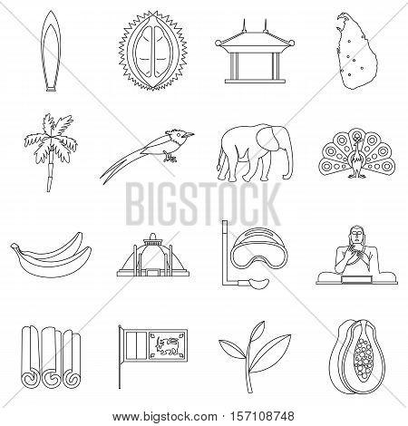 Sri Lanka travel icons set. Outline illustration of 16 Sri Lanka travel vector icons for web