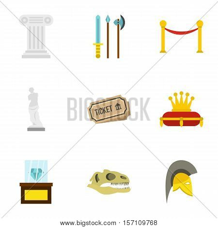 Gallery in museum icons set. Flat illustration of 9 gallery in museum vector icons for web