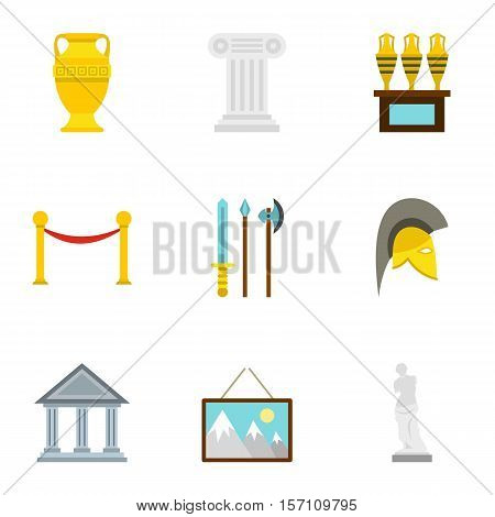 Historical museum icons set. Flat illustration of 9 historical museum vector icons for web