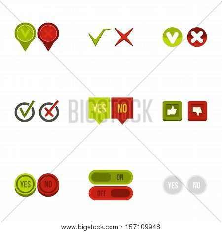 Yes no choice icons set. Flat illustration of 9 yes no choice vector icons for web