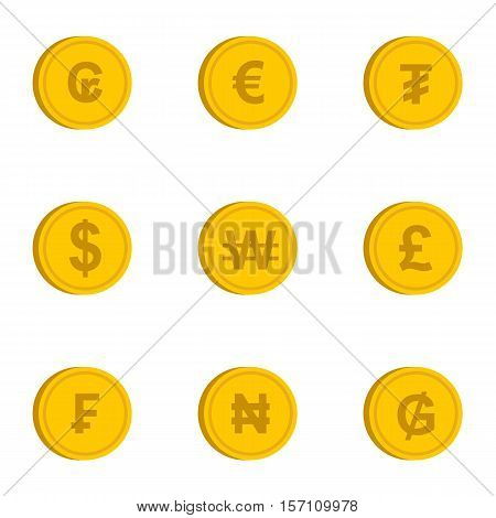 Money of countries icons set. Flat illustration of 9 money of countries vector icons for web