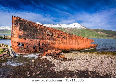 Shipwreck Standing On The Coast In Iceland