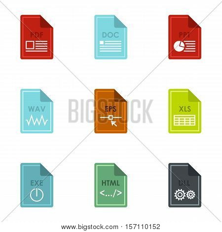 Kind of files icons set. Flat illustration of 9 kind of files vector icons for web
