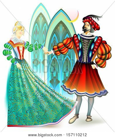 Illustration of men and women dressed in the costumes of 16th century in France, vector cartoon image.