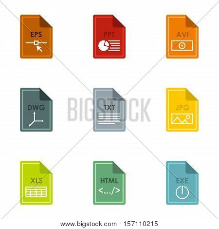 Documents icons set. Flat illustration of 9 documents vector icons for web