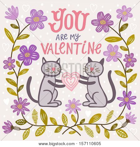 Valentine's Day vector banner with cats and flowers