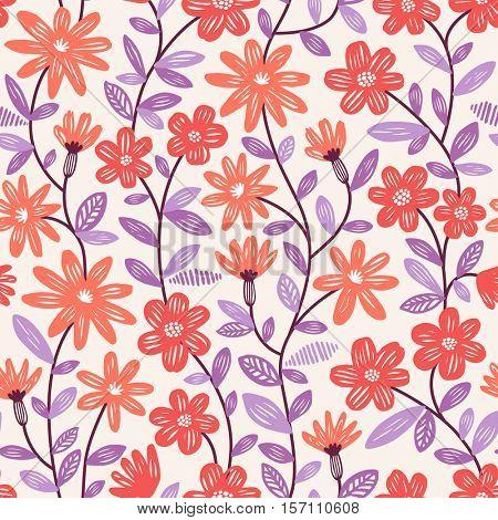 Elegant vector seamless pattern with orange flowers