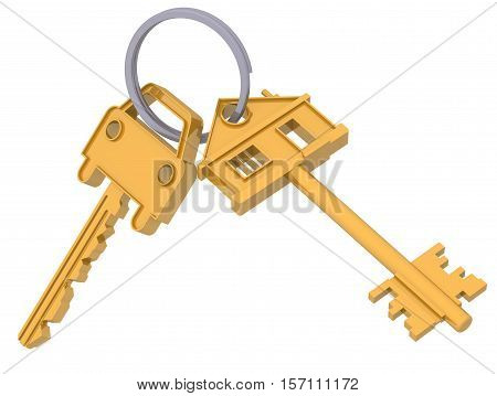 Keys to the house and car. The gold keys to the house and the car hanging on the ring. 3D Illustration. Isolated