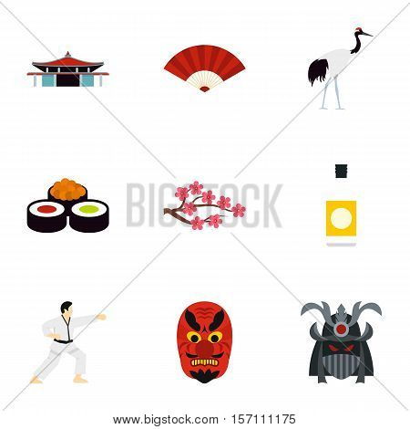 Country Japan icons set. Flat illustration of 9 country Japan vector icons for web