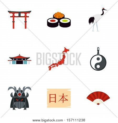 Tourism in Japan icons set. Flat illustration of 9 tourism in Japan vector icons for web