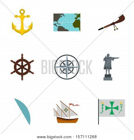 Discovery of America icons set. Flat illustration of 9 discovery of America vector icons for web