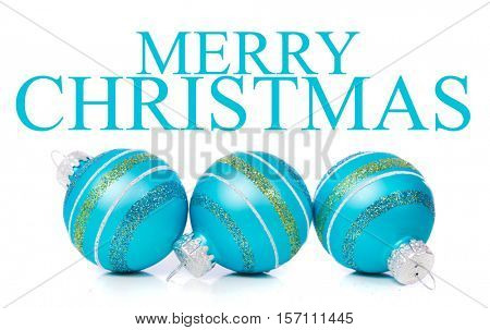 Blue Christmas ornaments on a white background with
