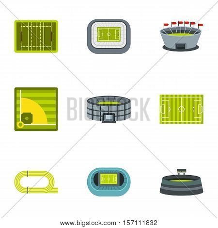 Stadium icons set. Flat illustration of 9 stadium vector icons for web