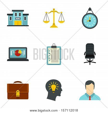 Firm icons set. Flat illustration of 9 firm vector icons for web