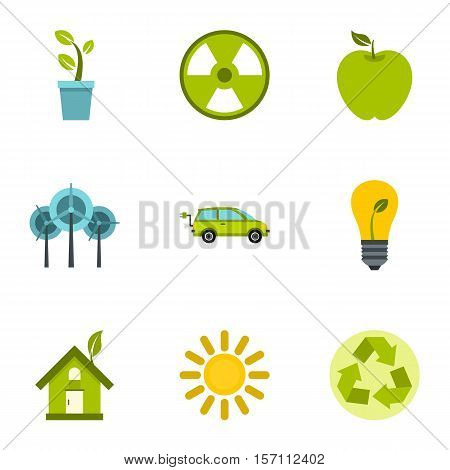 Natural environment icons set. Flat illustration of 9 natural environment vector icons for web