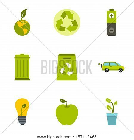 Environment icons set. Flat illustration of 9 environment vector icons for web
