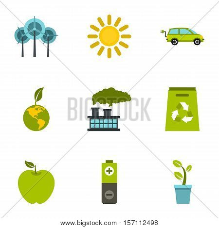 Purity of nature icons set. Flat illustration of 9 purity of nature vector icons for web