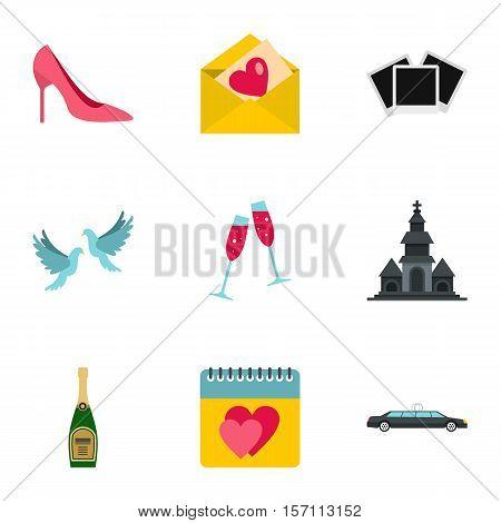 Wedding ceremony icons set. Flat illustration of 9 wedding ceremony vector icons for web