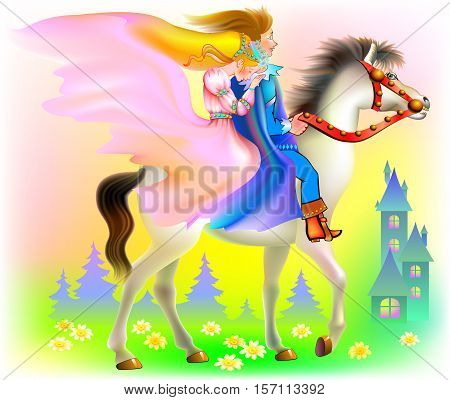Prince and princes riding on horse, vector cartoon image.