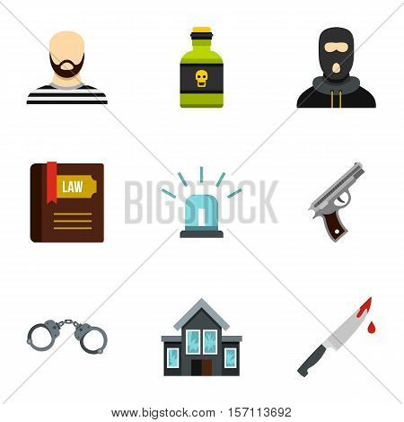 Robbery icons set. Flat illustration of 9 robbery vector icons for web