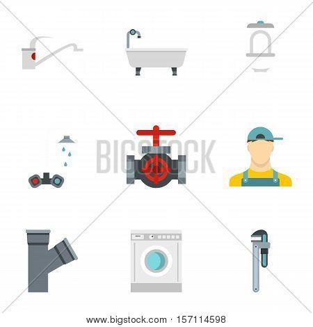 Sanitary appliances icons set. Flat illustration of 9 sanitary appliances vector icons for web