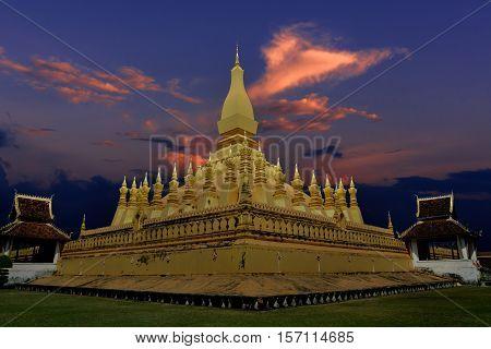 Pha That Luang Vientiane Landmarks of Vientiane Laos in twilight time.
