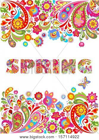 Background with flowers print and spring lettering