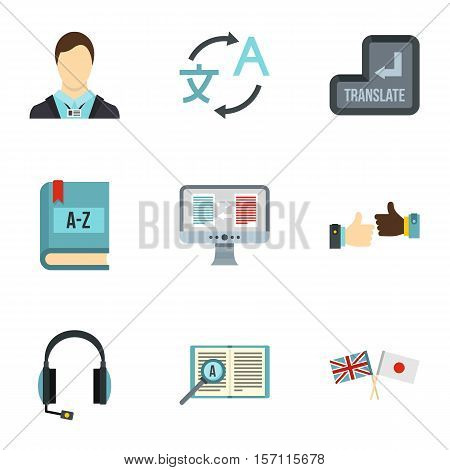 Translation of language icons set. Flat illustration of 9 translation of language vector icons for web