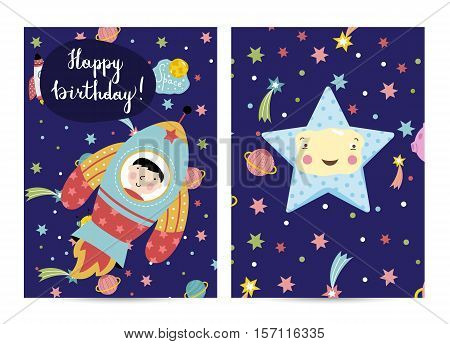 Happy birthday cartoon greeting card on space theme. Cute smiling star surrounded comets and planets, spaceship flying in cosmos vector illustrations. Bright invitation on childrens costumed party