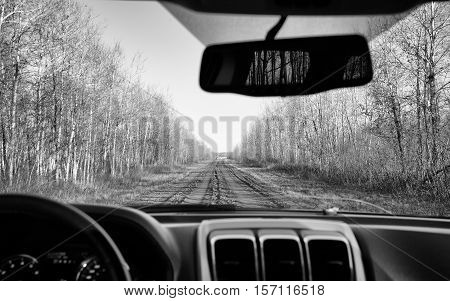 The view of a muddy dirt road lined by forest of bare trees from the interior of a car in rural black and white landscape