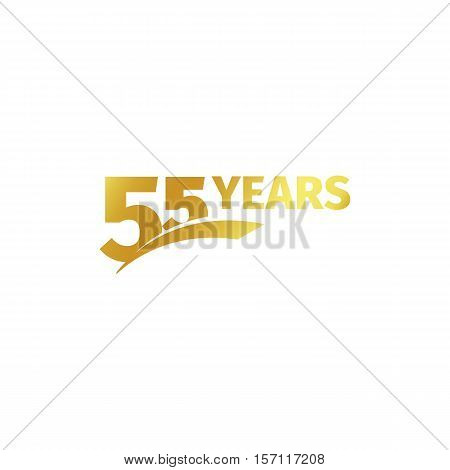 Isolated abstract golden 55th anniversary logo on white background. 55 number logotype. Fifty-five years jubilee celebration icon. Birthday emblem. Vector illustration