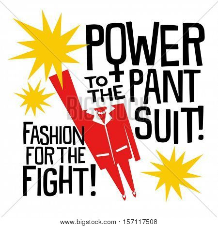 November 17, 2017. Illustration of red pantsuit as a symbol of continuing support for women and all human rights in the spirit of Hillary Clinton and her campaign. Power to the pantsuit.
