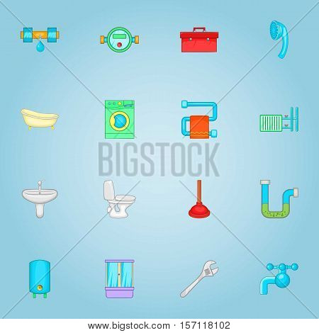 Sanitary appliances icons set. Cartoon illustration of 16 sanitary appliances vector icons for web