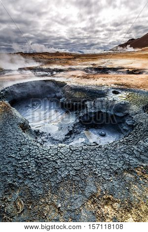Volcanic Geothermal Area In Iceland In Summer