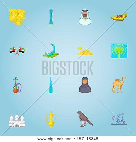 United Arab Emirates icons set. Cartoon illustration of 16 United Arab Emirates vector icons for web