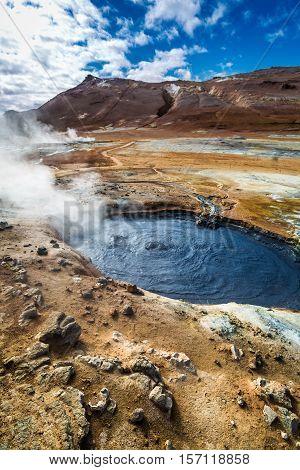 Full Of Steam And Sulfur Namafjall Terrain In Iceland