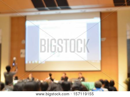 Annual symposium blur background with copy space on white screen,business conference and presentation.